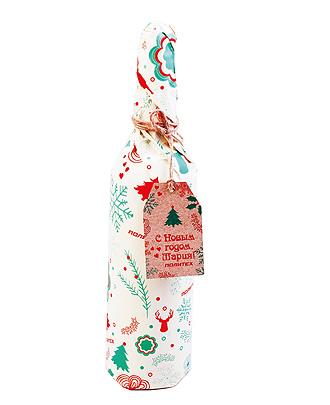 Упаковка в брендированную бумагу (бутылка)